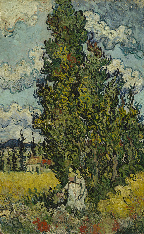 Vincent van Gogh Cypresses and Two Women
