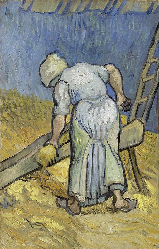 Vincent van Gogh Peasant Woman Bruising Flax (after Millet)