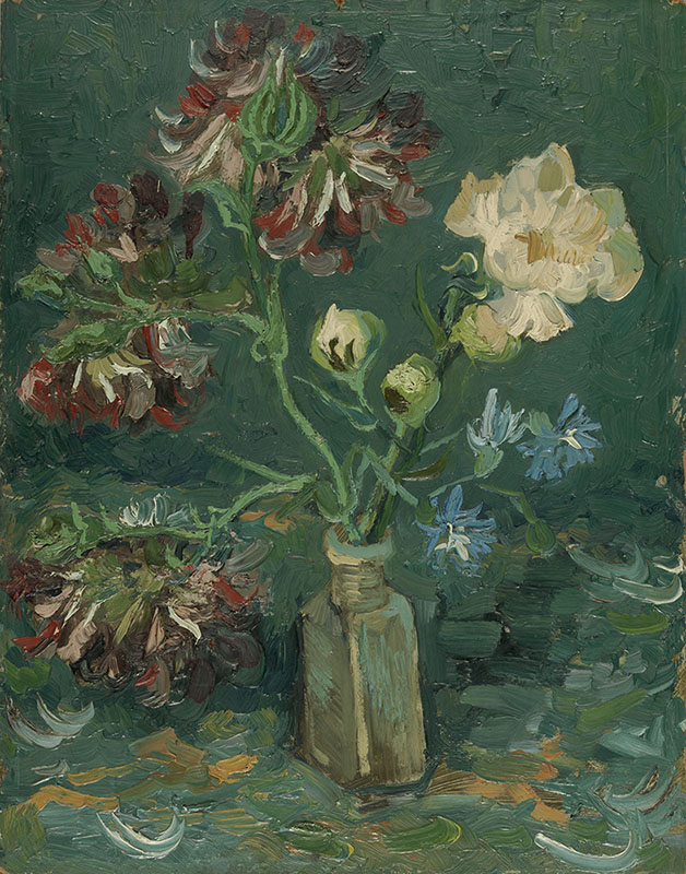 Vincent van Gogh Small Bottle with Peonies and Blue Delphiniums