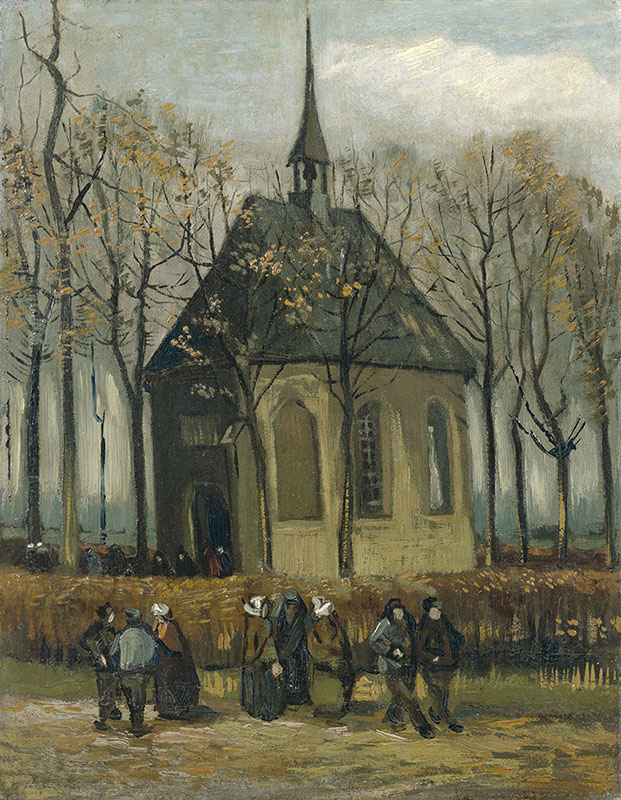 Vincent van Gogh Congregation Leaving the Reformed Church in Nuenen