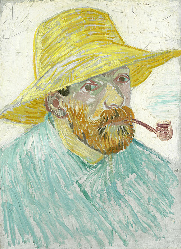 Vincent van Gogh Self-Portrait with Pipe and Straw Hat