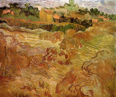 Vincent van Gogh Wheat Fields with Auvers in the Background