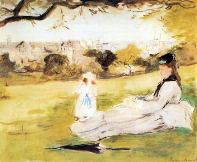 Berthe Morisot Woman and child sitting in a field