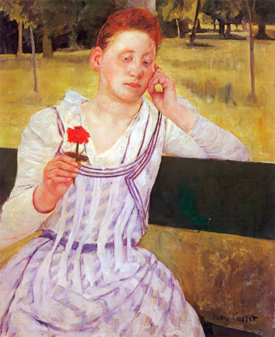 Mary Cassatt Woman with red Zinnia
