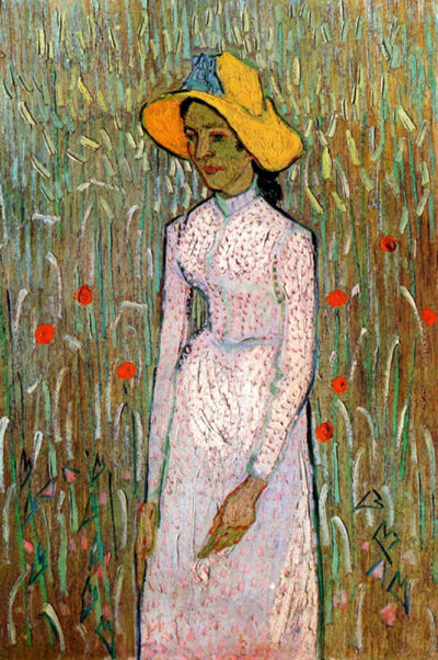 Vincent van Gogh Young Girl Standing Against a Background of Wheat