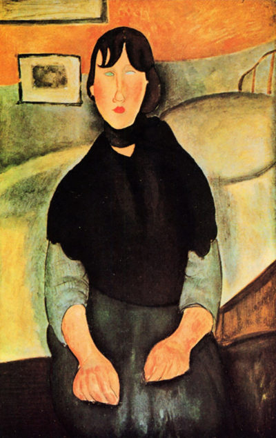 Amedeo Clemente Modigliani Young brown woman sitting on a bed