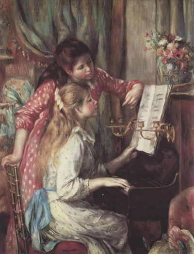 Pierre-Auguste Renoir Young girls at the piano