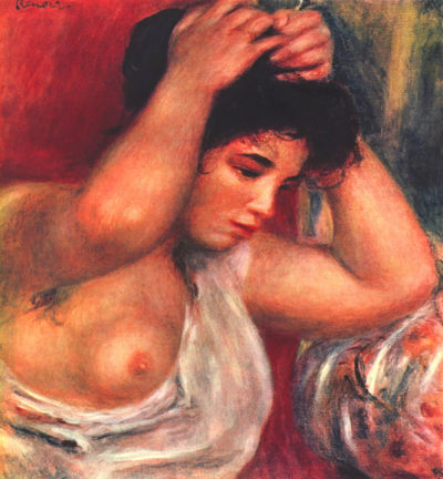 Pierre-Auguste Renoir Young woman hairdressing