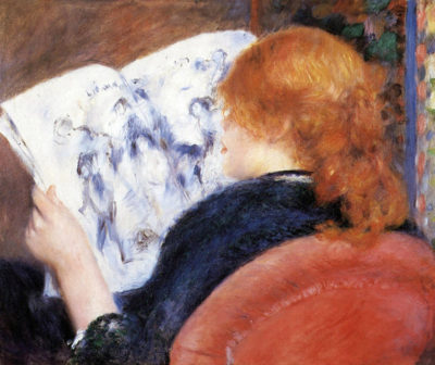 Pierre-Auguste Renoir Young woman reads illustrated journal