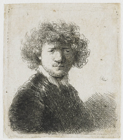 Rembrandt Harmensz. van Rijn Self-portrait with curly hair and white collar