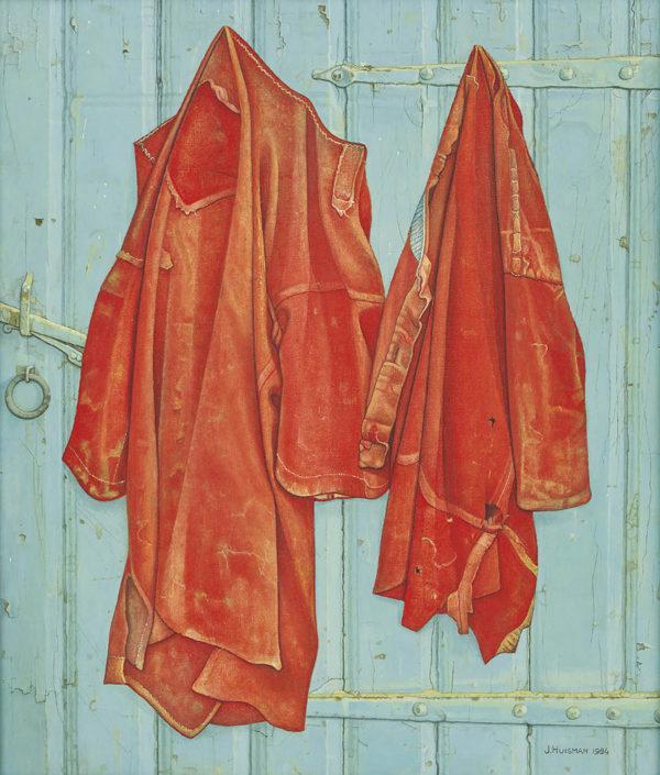Jopie Huisman Roodbaaien hemden op blauwe deur 1984