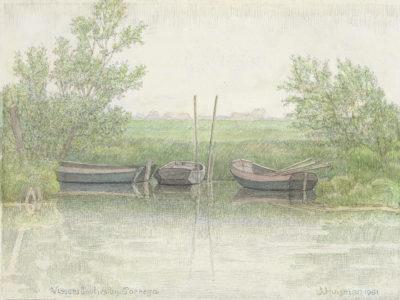 Jopie Huisman Vissersbootjes bij Parrega 1991