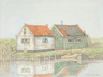 Jopie Huisman Vissershuisjes bij Koudum 1991