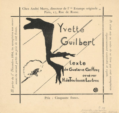 Henri de Toulouse-Lautrec Announcement for the Album Yvette Guilbert