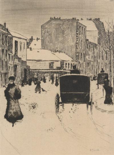 Norbert Goeneutte Boulevard Clichy in Snowy Weather (Le Boulevard de Clichy par temps de neige)