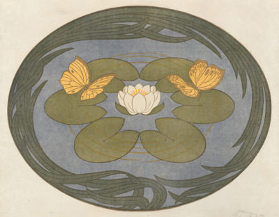 Peter Behrens Butterfly on Waterlily (Schmetterlinge auf Seerose)