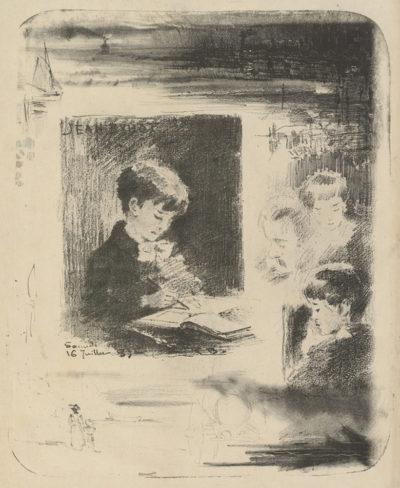 Félix Hilaire Buhot Child Drawing (Enfant dessinant)