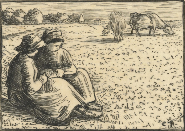 Camille Pissarro Cowherds (Les gardeuses de vaches) from the series Les travaux des champs