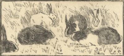 Lucien Pissarro Rabbits (Les lapins)