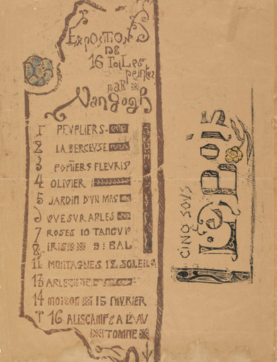 Émile Bernard Exhibition catalogue for the Van Gogh exhibition at gallery Le Barc de Boutteville (1892) with The Woodcut (recto) and
