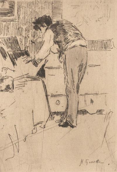 Norbert Goeneutte Henri Guérard consulting a portfolio with prints (Henri Guérard consultant un carton d'estampes)