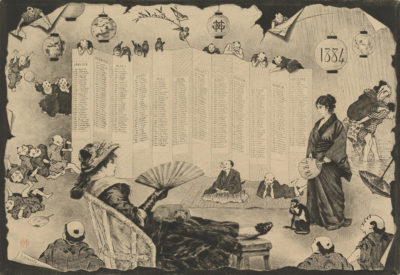 Henri Charles Guérard Japonaiserie with calender 1884