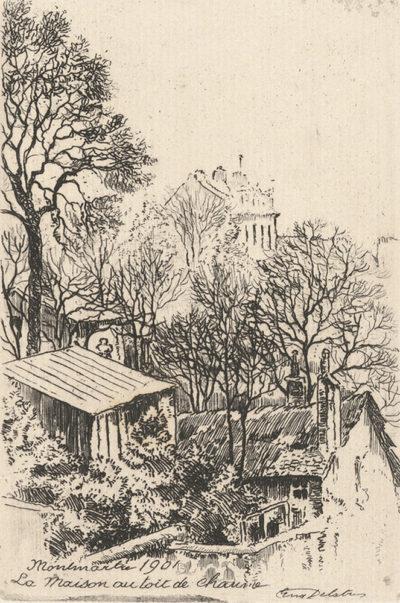 Eugène Delâtre La maison au toit de chaume