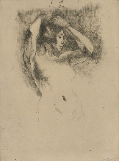 Albert Besnard Naked Model with Raised Arms (Le modèle nu les bras levés)