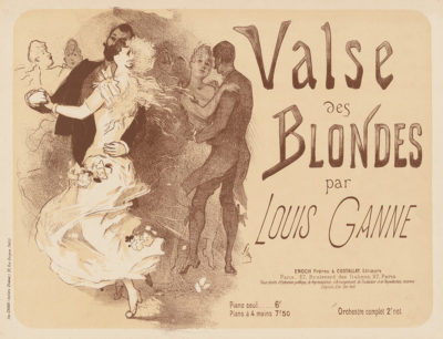 Jules Chéret Cover for sheet music Valse des blondes by Louis Ganne