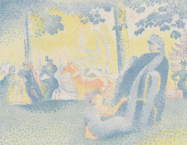 Henri Edmond Cross On the Champs-Élysées (In den Champs-Elysees) from the journal Pan (31 July 1898)