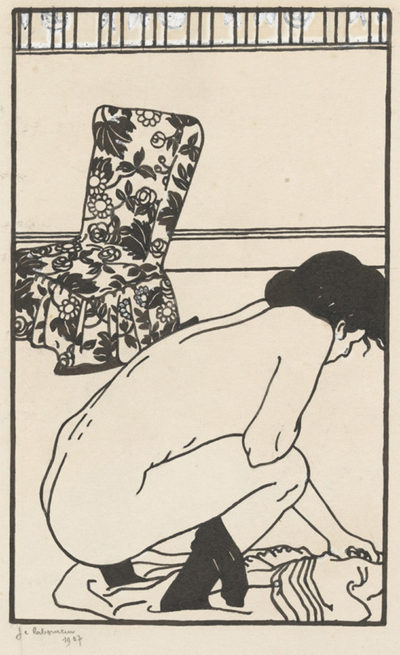 Jean-Emile Laboureur Design for the Fallen Pin (L'épingle tombée) from the series Toilettes