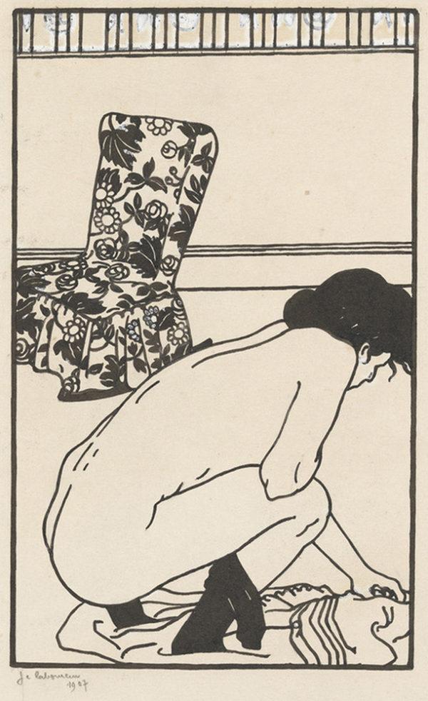 Jean-Emile Laboureur Design for the Fallen Pin (L'épingle tombée) from the series Toilettes