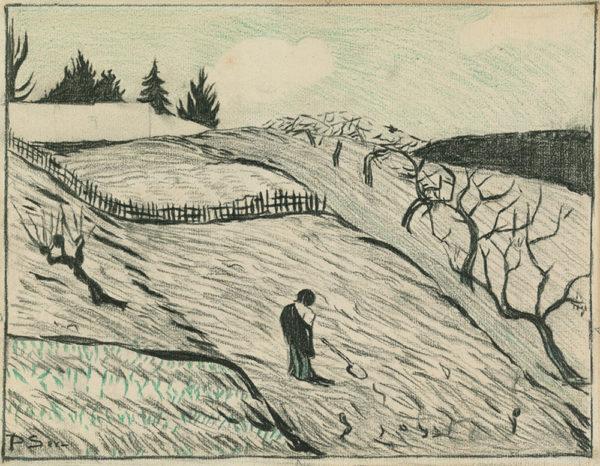 Paul Sérusier Design for Landscape (The End of the Day) (Paysage (La fin du jour)) from the album L'Estampe Originale (Album II)