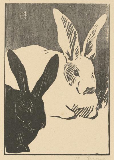 Henri Charles Guérard Rabbits (Les lapins)