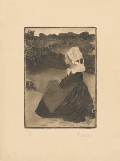 Henri Delavallée Seated Breton Woman (Bretonne assise)