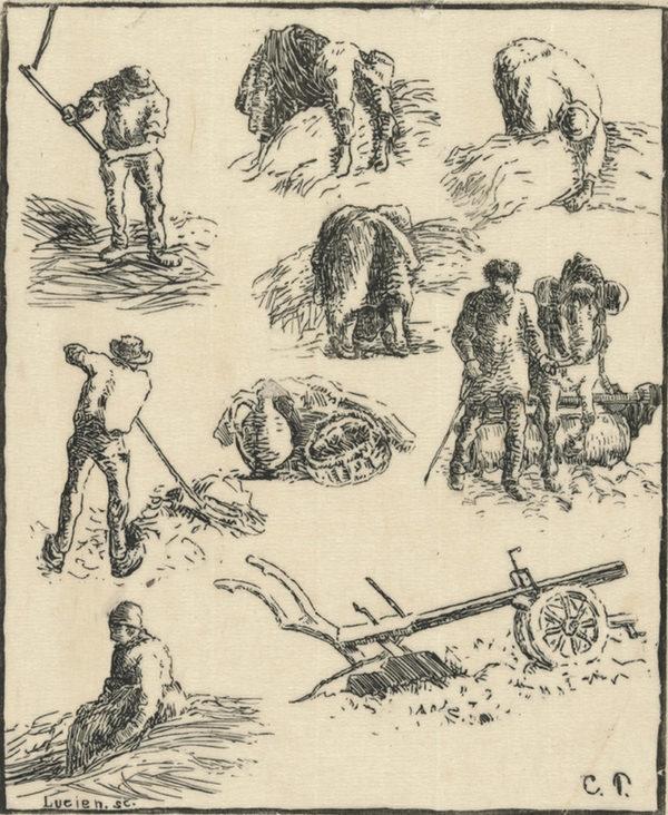 Camille Pissarro Studies (Labours of the fields) (Etudes (Travaux des champs)) from the series Les traveaux des champs