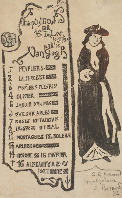 Émile Bernard Exhibition catalogue for the Van Gogh exhibition at gallery Le Barc de Boutteville (1892) with Lady with a Muff (La dame au manchon)
