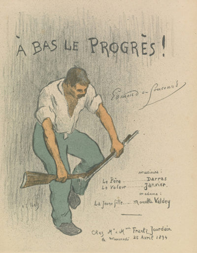 Henri Gabriel Ibels Theatre programme for A bas le progrès by Edmond de Goncourt (performed at Mr and Mrs Frantz Jourdain
