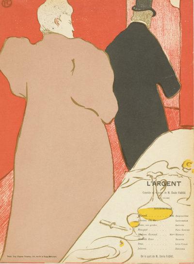 Henri de Toulouse-Lautrec Theatre programme for L'argent by Emile Fabre (Théâtre Libre