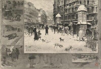 Félix Hilaire Buhot Winter in Paris (L'hiver à Paris) or Snow in Paris (La neige à Paris)