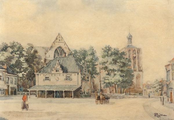 Efkes Thûs Gezicht op Waag en Kerk van Workum 1940