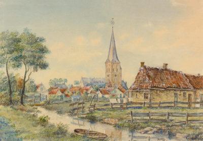 Efkes Thûs Gezicht op Workum met katholieke kerk 1943-1945
