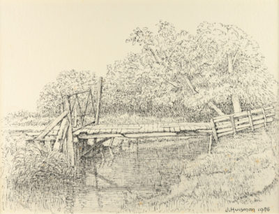 Efkes Thûs Planken bruggetje tussen twee hekjes 1976