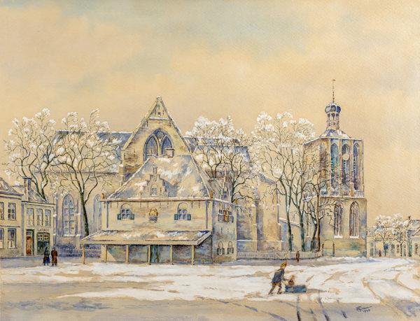 Efkes Thûs Plein met Waag en Kerk 1943