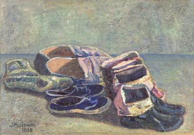 Efkes Thûs Stilleven met pantoffels en laarsjes 1958