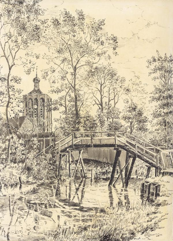 Efkes Thûs Toren van Workum met bruggetje 1944