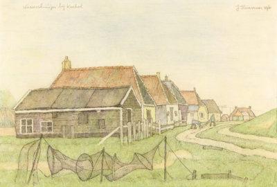 Efkes Thûs Vissershuisjes bij Koehool 1961