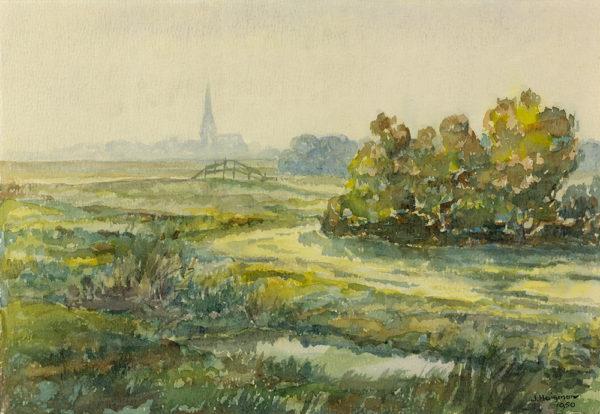 Efkes Thûs Weilanden voor Workum in de mist 1959