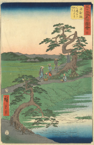 Utagawa Hiroshige Chiryū: The Remains of the Irises near Yatsuhashi village