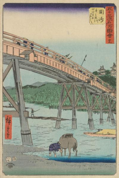 Utagawa Hiroshige Okazaki: Yahagi Bridge Over the Yahagi River